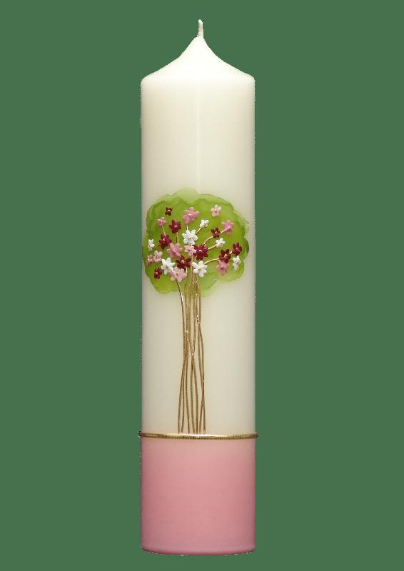 taufkerze lebensbaum rosa mit roten und wei en bl ten kerzen f rst. Black Bedroom Furniture Sets. Home Design Ideas