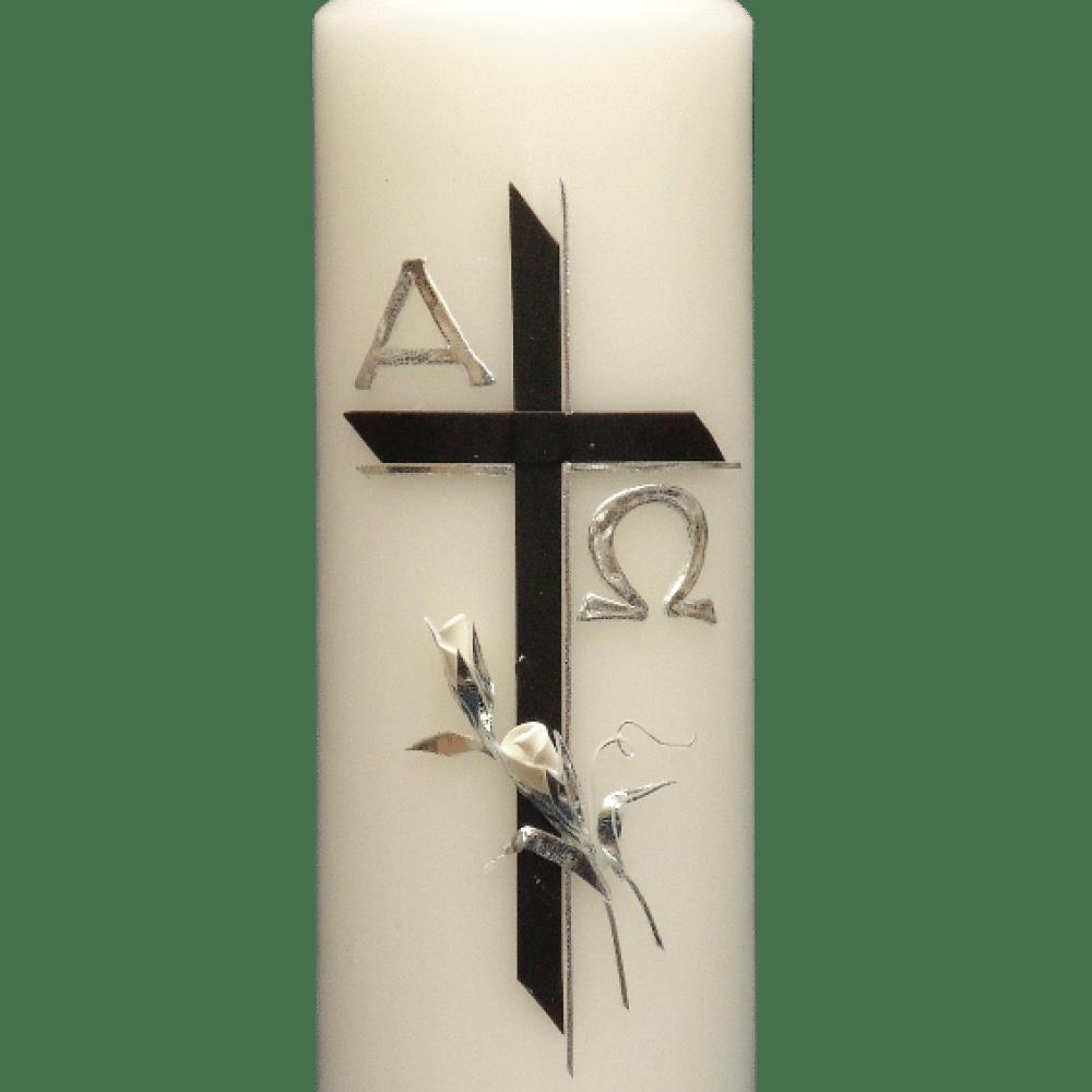 Sterbekerze Schwarzes Kreuz Mit Weiß Silberner Rose